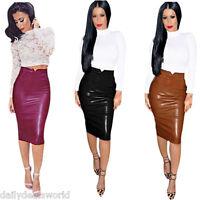New Womens Wet Look High Waist Leather Stretchy Bodycon Pencil Skirt Midi Dress