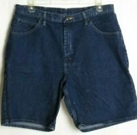 Wrangler Jean Shorts Blue Dark Wash Mens Relaxed Fit Size 38
