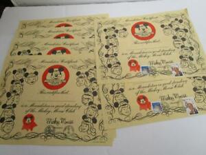 VINTAGE MICKEY MOUSE CLUB MOUSEKETEER CERTIFICATE BIRTHDAY STAMP LOT