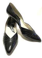 Vintage Shoes Heels Pumps Marcella Leather Snakeskin Black Women's 8 1/2  AAA