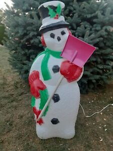 "Vintage 1996 TPI ""Frosty"" Snowman Blow Mold Christmas Lighted Decor with Shovel"