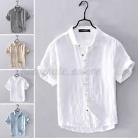 US STOCK Men's Short Sleeve Cotton Linen Yoga Shirts Casual Fit Blouse Tops Tee