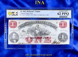 INA Virginia Treasury $1 Obsolete Currency 1862 Unc Civil War PCGS 62 PPQ