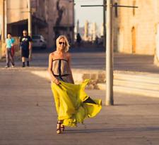 $398 BCBG Lilyan Golden Lime Green Black Tan Strapless Size Dress XS 2 4 6 Small