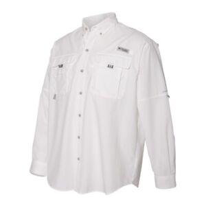 Columbia Mens Long Sleeve Shirt XL White Bahama II PFG Hiking Fishing Camping