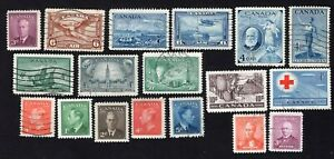 Canada 1935-52 19 stamps used/MNG/MH