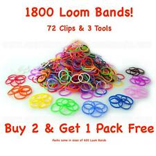 1800 Loom Bands Assorted Mix coloured Bands 72 clips + Tool Arts Craft Kit