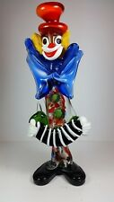 "LARGE VINTAGE MURANO ART GLASS CLOWN FIGURINE 12"" TALL - PLAYING AN ACCORDIAN"