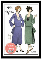 1920s Flapper Day Dress Sewing Pattern - Full Size Sewing Pattern