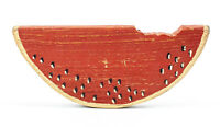 """Vintage Hand Painted Wooden Watermelon Slice - Wall Decor   11"""" Long"""