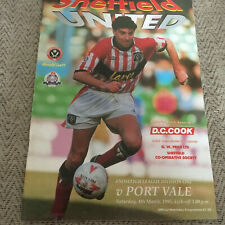 Sheffield United V Port Vale 1994/95 - Division un programme