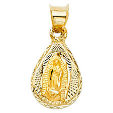 14k Yellow Gold Virgin Mary Holy Lady Guadalupe Pear TINY Charm Pendant Chain