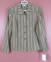 TB08280- NWT PENDLETON Women's Linen Rayon Blouse Jacket Multicolor Stripe XL