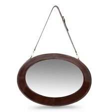 Large Oval Wall Mirror Hanging Adjustable Strap Genuine Leather-Living Bedroom