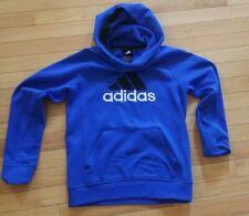 Adidas Hoodie Sweatshirt Pullover Blue Trefoil Logo Front Pocket Boys Size M