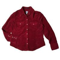 Gap Western Button-Up Shirt Blouse Pearl Snap Red Corduroy Womens Large