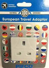 UK TO EU 2 PIN ROUND EUROPE EUROPEAN TRAVEL ADAPTOR PLUG CHARGER PIFCO BRANDED