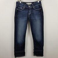 BKE Denim Buckle Culture Crop Capri Women's Dark Wash Blue Jeans Size 26