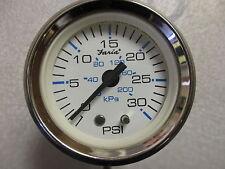 "OP1038B Faria White & Black Water Pressure PSI Gauge Marine Boat 2"" 30 PSI"