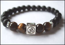 TIGER EYE and BLACK OBSIDIAN 'OM' stretch beaded BRACELET - Unisex