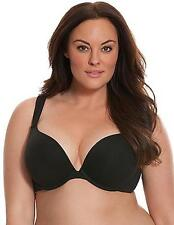 New Cacique $42 Cotton Boost Plunge Bra Black Lane Bryant Padded Push Up 46D
