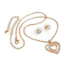Rose gold colour crystal heart design chain necklace and stud earring set