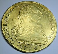 Authentic 1776 Spanish Gold 8 Escudo Doubloon Antique 1700s Pirate Treasure Coin