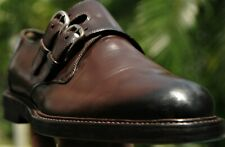 GUCCI Men's brown burnished double Buckle  Leather Dress shoes Italy Sz 8 D