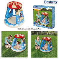 Bestway Candyville Shaped Kids Outdoor Garden Shaded UV Resistant Paddling Pool