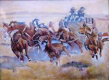 1900s Limoges Enamel Copper Western Stage Coach American CraZy Horse Painting !