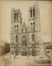 Belgique, Bruxelles. Sainte Gudule  Vintage albumen print.  Tirage albuminé