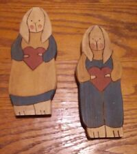 Vintage Handmade Wooden Rabbit Pair - Boy Girl with Heart - 8""