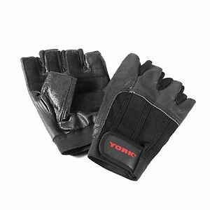 York Leather Weight Lifting Gloves Heavy Duty Padded Power Training Gym Exercise