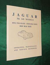 Jaguar XK140 Owners Handbook with FREE Maintenance Chart