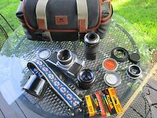 VINTAGE CAMERA 35MM MANY ACCESSORIES  WITH GREAT PRINZ BAG