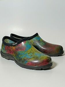 Sloggers Women's Garden Rain Clogs Shoes Size 8 Slip On Rubber Multicolored