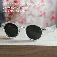 Retro Vintage polarized sunglasses Johnny Depp slim eyeglasses crystal G15 lens