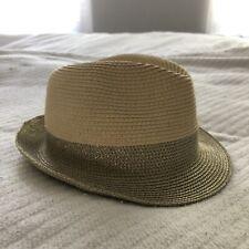 paper straw woven hat metallic gold brim color block fedora target EUC OSFM