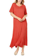 NEW WOMAN WITHIN PAPAYA SHORT SLEEVE CRINKLE MAXI DRESS SIZE 32 TO 34 LENGTH 49""