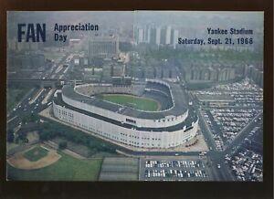 September 21 1968 Yankee Stadium Fan Appreciation Day Program Pamphlet EX/MT