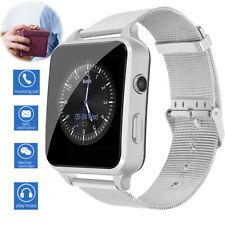 Silver Bluetooth Smart Watch Unlocked Phone for Women Lady Men Samsung Lg Huawei