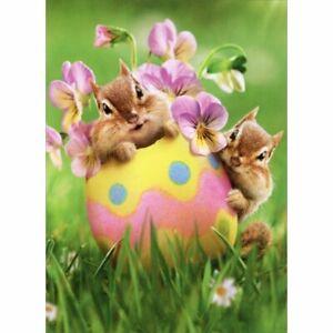 Avanti Press Chipmunk Easter Egg Floral Easter Card