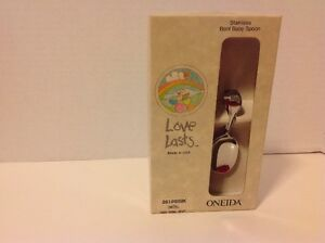 NEW Original Owner Love Lasts Oneida Stainless Bent Baby Spoon Chateau USA