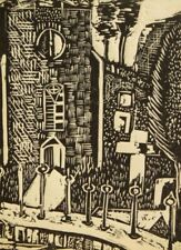 David Mew pencil signed antique 'The Church, Swindon' wood engraving 1964
