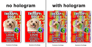 Therapy Service Dog Medical Symbol Wings ADA red Badge wallet card ID