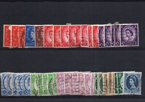 LOT OF 124 GREAT BRITAIN QUEEN ELIZABETH WILDING ISSUE USED FINE/VF CONDITION