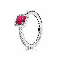 Pandora Ring Timeless Elegance, Synthetic Ruby & Clear CZ 190947SRU Brand New!