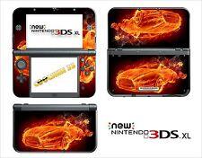 SKIN STICKER AUTOCOLLANT - NINTENDO NEW 3DS XL - REF 132 VOITURE FLAMME