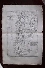 ✒ ca.1780 grande CARTE Amérique du Sud Chili Patagonie
