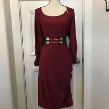 Rouched Zipper Detail Dress Maroon 3/4 Sleeve Super Soft Nice Stretch 1X